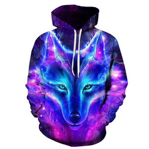 Space Galaxy Wolf Hoodie Hoodies Men Women 2019 New Fashion Spring Autumn Pullovers Sweatshirts Sweat Homme 3D Tracksuit