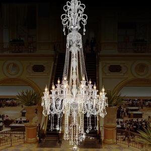 2.1 متر كبيرة الصمام شمعة الثريا الثريا الكريستال الإضاءة ل بهو فيلا فندق الكنيسة طويلة درج ضوء الثريا الكبيرة LED الشمعدانات