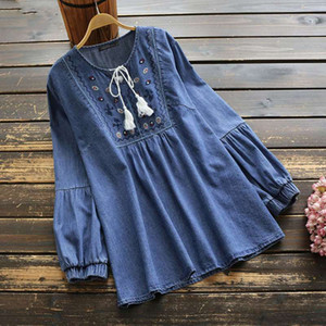 Women's Embroidery Blouse 2020 Fashion Denim Blue Shirts Tassel Puff Sleeve Female Casual Floral Tops Oversized