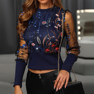 Puff Uzun Kollu T Shirt Bayanlar Şık Şık Çiçek Nakış tişört büyüleyici Lady Tee sayesinde Kadınlar Mesh See Pullover Tops