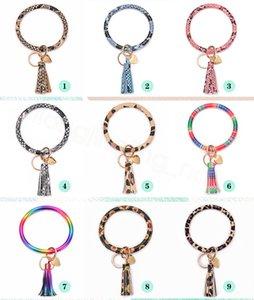 35styles PU porte-clé bracelet en cuir avec pendentif sac pompon coeur imprimé des articles de fête keyholder cercle Wristlet faveur FFA4145-2