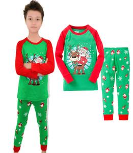 Mode-Kleinkind-Baby-Weihnachten Set Weihnachten Sankt-Kind-Junge-Ren-Langarm Nachtwäsche Anzug Pyjamas Sets Größe 2T-7