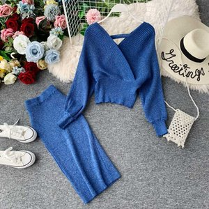 Knitted 2 Pieces Set Women Pullovers Sweater V-Neck Crop Tops & Knitted Skirts Bodycon Office Lady 2PCS Suits Sets Autumn Winter