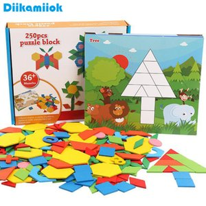 250pcs Wooden Geometric Clever Board Puzzle 3D Tangram Jigsaw Board Toy Baby Early Educational Learning Toys for Children Game Y200704