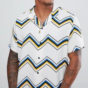 Beach Shirts 2020 Men Casual stripe Short Sleeve Button-down Shirt Male Oversized chevron Stripe Men Shirt Male clothing ropa