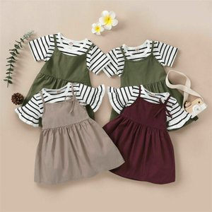 Pudcoco 2020 Summer Toddler Baby Girl Clothes Striped Top T-shirt Dress Shorts Outfits Set