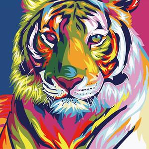 Sayıların Keten Kumaş İçin Duvar Dekorasyon By By Numbers Renkli Aslan Kaplan Kedi Hayvanlar Resim Boyama Paint Boyama SICAK DIY