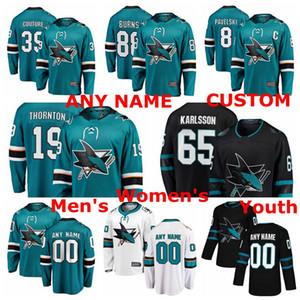 San Jose Sharks jerseys Joe Pavelski Jersey Erik Karlsson Brent Burns Joe Thornton Logan Couture Teal blanco cosido los jerseys del hockey personalizada