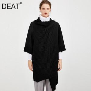 [DEAT] Пальто 2020 Нью-плиссированные Женские Кардиган Leisure Design изнашиваются Преобразовать Семь рукава Сыпучие Wild отворотом Side Button AQ671