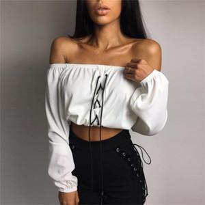 Moda Kadın nervürlü Pileli Lace Up Gömlek Seksi Kapalı Omuz uzun Kol Bluz Üst Giyim kırpma