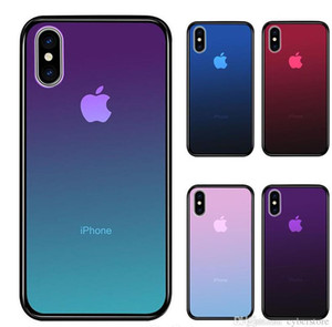 Cyberstore Clear Tempered Glass phone Case For iPhone XS Max XR 7 8 X 6 Plus Gradient Color Blue Ray Aurora Skin Back Cover
