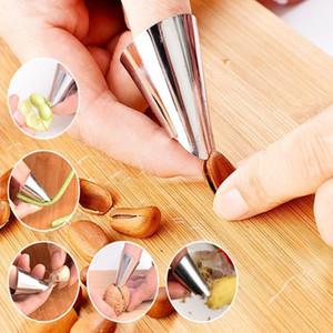 Dedo de aço inoxidável Protetores de amendoim Sheller Fruit Vegetable Nuts Peeling Finger Guard Cozinha Ferramentas de proteção de corte