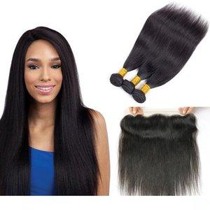 Brasiliani Fasci di capelli Lisci Con Chiusura All'ingrosso trame dei capelli umani con 13x4 veletta Frontale Chiusura Remy Extensions di capelli umani Fastyle