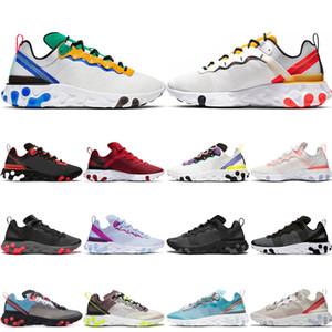 nike React Element 55 87 shoes Tênis de corrida para mulheres dos homens da Universidade Vermelho Triplo Preto Total Laranja Metálico dos homens de Ouro dos esportes do desenhado