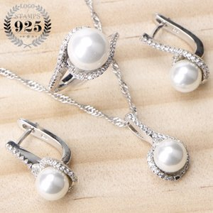 925 Sterling Silver Bridal Pearls Jewelry Sets Women Wedding Jewelry With Pearl Zircon Clips Earrings Ring Pendant Necklace Set MX200528