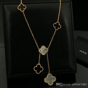 2019 316L Edelstahl vergoldet Weißer Achat Schwarze Blume Liebhaber Halskette Gold Fein Natürlicher roter Achat Schmuck Frauen