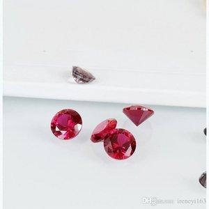 Big Taglie sintetico colore rosso rubino corindone allentato pietre rotonde 7-12mm Lab Created Cubic gemme CZ per monili che fanno 200pcs / lot