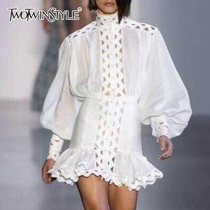 Twotwinstyle Robe moulante à manches longues Femme lanterne taille haute évider Ruffle Hem Shirt Robes Femmes Mode Automne C19041701