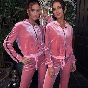 Printemps Femmes velours capuche Survêtements strass côté rayé Active Pants Ladies Sim Solid taille élastique Femmes de Sets