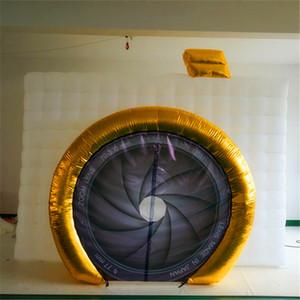 Alta qualità airblower Cubo d'Oro Inflatable Photo Booth striscia di LED gonfiabile studio di Booth Con Colorful Led