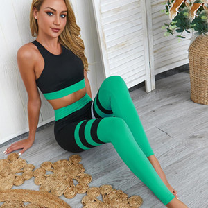 Yoga Set for Fitness Woman New Stripe Patchwork Fitness Wear 2 Piece Suits Slimming Sportswear Gym Clothes Suit for Yoga Female XS-L
