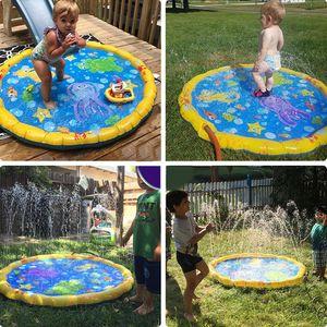Los niños juegan Mats inflable al aire libre de rociadores de agua de ratón Diversión spray Mat Splash Agua Mats Bebé Piscina