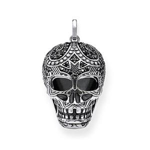 Maori Skull Pendants Black Cubic Zirconia Silver Skeleton Fashion Jewelry Necklace Accessories for Women Men 2018 New Gifts