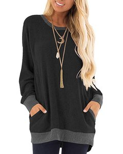 Cotton Women T-Shirt Style Sweatshirts with Pockets 2020 Hit Color Long Sleeves Pullover Sportswear Casual Jacket