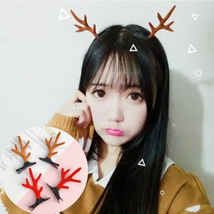 1 par Coreia do Natal da forma grampos de cabelo bonito Antlers dos cervos cogumelo da pele do falso esfera das meninas Mulheres Grampos Acessórios para Cabelo