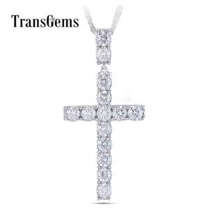 Transgems Platin Silber Kreuz Anhänger Halskette Für Männer 3.5ctw 4mm Leicht Grau Moissanite Diaond Sterling Silber