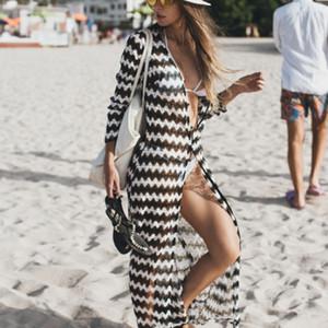 Papai Chen Lace Praia vestido longo mulheres Summer Beach Cardigan Swimsuit Cover Up Robe Plage Longue Femme Pareos Pará Playa 2019