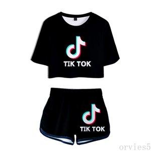 Cross border 2020 new TIK TOK 3D, tiktok, short sleeve T-shirt shorts, women's manufacturers