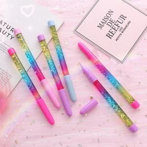 Hada palillo de bolígrafo plumas de gel azul Negro Tinta deriva de arena brillo cristal pluma creativa Rainbow Ball Pen niñas VT0329 regalo