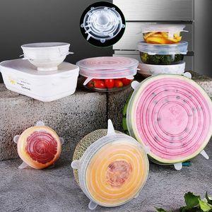 6 PC / Satz Silikon-Dichtung Deckel Wiederverwendbare elastische Lagerung von Lebensmitteln Abdeckung Food Grade Absaug- Pot Frucht frisch zu halten Wrap Seal Deckel BH2393 TQQ
