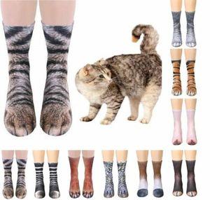 New Arrival Novel Style Adult Unisex Funny Animal Crew Socks Paw Feet Sublimated Print Novelty Elastic Breathable Sock