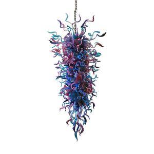 Metallrahmen Kristall-Anhänger-Licht-Kunst-Dekor LED-Lichtquelle Chihuly Art-Hand geblasenem Glas hängende langkettige Kronleuchter