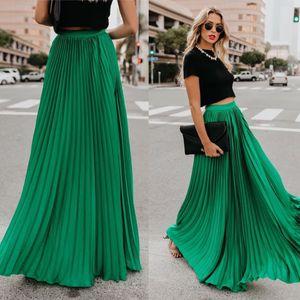 2019 Verão Mulheres plissadas Saias de cintura alta Casual plissada saias longas Bohemian elegante Balanço grande festa Maxi Faldas