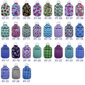 El Temizleyici Şişe Tutucu 30ml Seyahat Boyu Taşınabilir Neopren Kapak Anahtarlık ayçiçeği baskı el sabunu şişe çantası ile