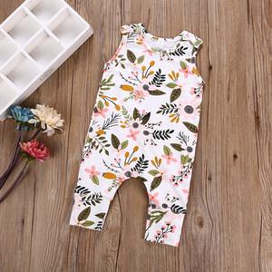 set bebê do verão da menina flor folhas Jumpsuit da criança mangas de algodão macacãozinho Bebê recém-nascido Outfit Bodysuit Kid Clothing