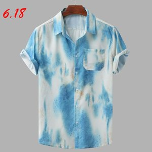 Summer Men's shirts camisa Casual Colorful Short Sleeve shirts for men Hawaiian Loose Buttons Blouse men clothing chemise homme