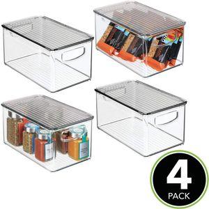 Пластиковый Штабелируемый кухонный шкаф-кладовка, холодильник, морозильная камера ящик для хранения продуктов питания с ручками, крышкой-организация для фруктов, банок, закусок, P