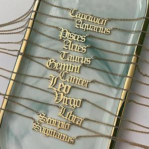 Mujeres de acero inoxidable doce constelaciones colgante collar oro / acero / oro oro 12 zodiaces letras colgante collar declaración joyería