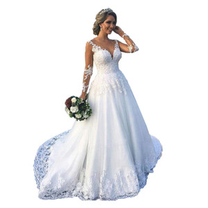 Vestido De Noiva 2020 Vintage Sheer Long Sleeves Wedding Dresses Plus Size Lace Appliques Beaded Wedding Bridal Gowns Cheap robes de mariée