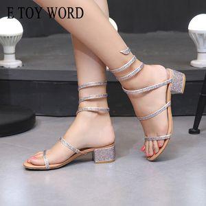 E TOY WORD Snake-shaped winding Sandals 2020 New Women Summer Rhinestone Open Toe Sandals thick heel Roman women shoes T200529