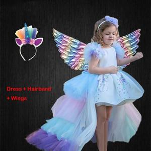Natale ragazze vestono Unicorno con la coda lunga + ali Hairband della neonata principessa della festa di compleanno per bambini abito di sfera stendibiancheria