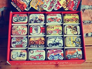32pcs / box Vintage moto design Tin Box Metal Coin Saver Petit affaire Jewerly 16 de conceptions Boîte de cadeau de chocolat