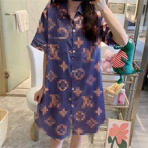 Women Design Pajamas Shirt Nightdress Ladies Simulation Silk Summer Ice Silk Thin Short-Sleeved Shirt Mid-Length Female Home Service
