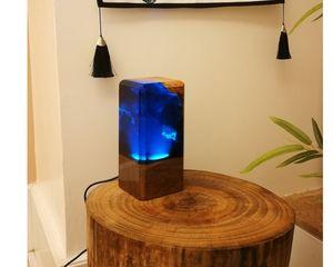 factory wholesale new led table lamp blue ocean undersea resin wood epoxy resin light sinobrilla house decor decoration room