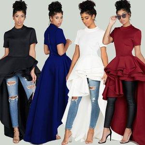 Mujeres se visten de mujer vestido atractivo irregular del loto vestido de las mujeres Rojo Blanco Azul Negro más el tamaño de todas correspondan partido de tarde de verano flojo