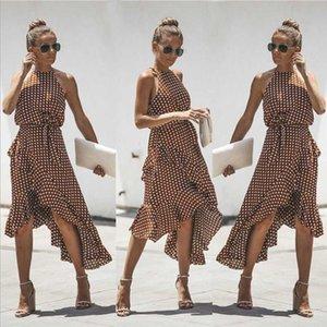 Casual mangas cintura alta vestido do verão 2020 Dot Imprimir Mulheres Ruffles vestido solto elegante ata acima Mulheres Roupa Sexy Vestidos Y19012201